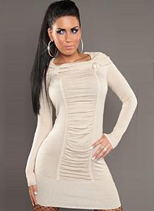 Фото трикотажное платье с длинным рукавом