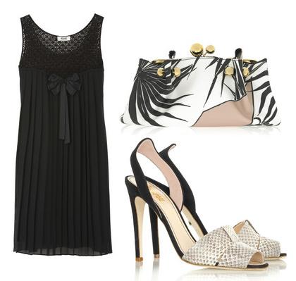 черное платье с аксессуарами