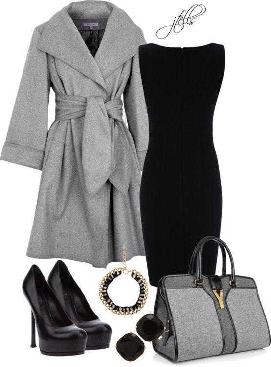 черное платье с пальто