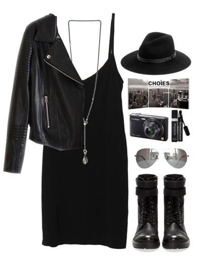 стиль хиппи в черном платье