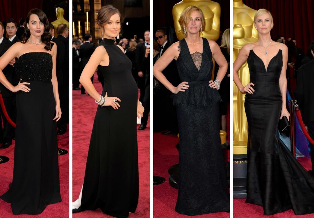 длинные черные платья знаменитостей