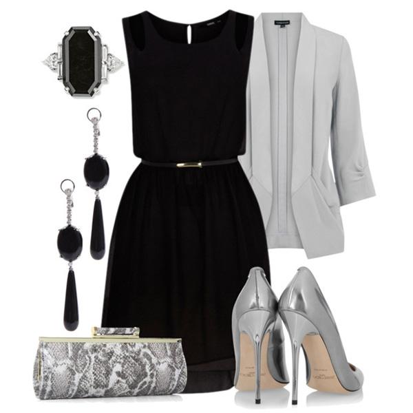 черное платье с сумочкой