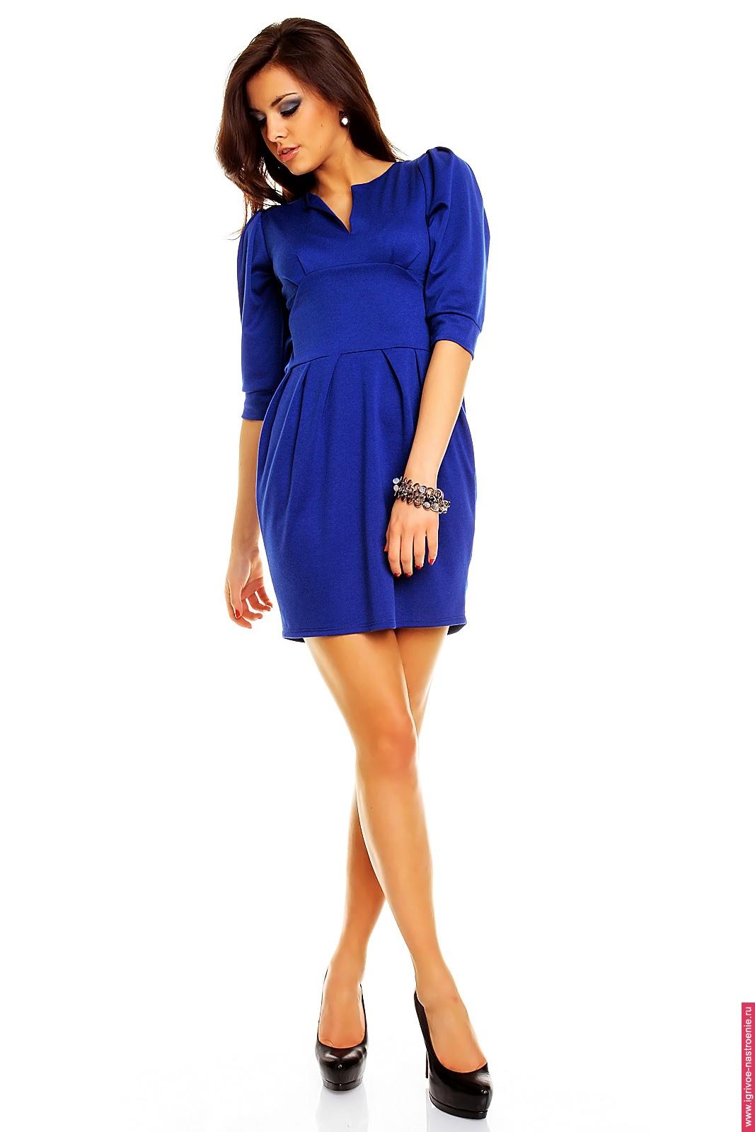Синее платье повседневное